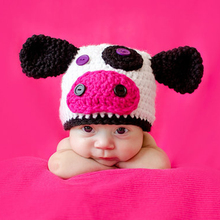 New Arrival Fashion Newborn Baby Infants Cow Hat Crochet Knitted Cap Beanie Pure Handmade Costume Photography Prop