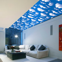 45CM*10M Blue Sky And White Clouds Ceiling Self-Adhesive Wall Sticker Living Room Bedroom Muurstickers Home Decor Adesivo 3D(China)
