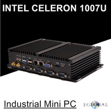 Cheapest industrial mini pc Fanless computer with USB 3.0 Dual Gigabit Lan 4 COM HDMI Intel Celeron C1007U Windows 10 Linux