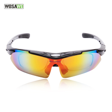 WOSAWE Professional Black cycling glasses racing motorcycle sports safety sunglasses bike sunglasses bicycle goggles 5lens/3lens(China)