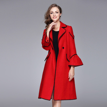 High Street Coats 2017 Early Autumn Winter Top UK Fashion Flare Sleeve Patchwork Black Laciness Women Long Red Wide-waisted Coat(China)