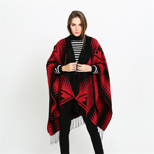 Designed Geometric Wrap With Long Tassel Women Black Red Ombre Cape Shawl Two Stone Graphic Poncho For Lady Birthday Gifts YG537(China)