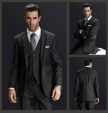 FOLOBE Custom Made Dark Gray Men Wedding Suite Groom Tuxedos Suits Herringbone Retro Gentleman Suits Formal Party Suits