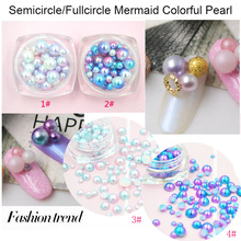 Japanese nail ornaments ball fullcircle/semicircle pearl gradient magic mermaid Symphony colorful pearl highlight nail art charm
