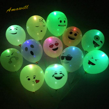 Amawill Emoji LED Latex Balloons Smiley Face Expression Light Balloon Inflatable Glowing Globos for Hen Party Decoration 75D(China)