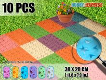 New 10 pcs Interlocking Plastic Flooring Mat Garden Tile Heart Pattern 30 x 20 cm KK1130 6 Color