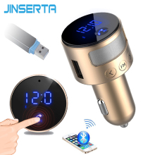 JINSERTA Smart Touch Screen Car MP3 Player Bluetooth FM Transmitter HandsFree LCD Voltage Monitor U Disk Reader 3.1A USB Charger(China)