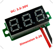 "RD 0.28"" Mini Digital Voltmeter dc 3.50-30V 2 wires Vehicles Motor Voltage Panel Meter led Display Color [ 10 pieces / lot](China)"