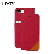 Leisure women man stand wallet flip case for iPhone 6 fashion hit color card slot canvas cover for iPhone 7 6s plus with lanyard