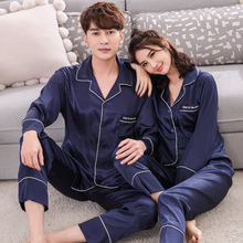 Lovers' sleepwear silk satin spring and summer long-sleeve casual set thin plus size home wear for women and men(China)