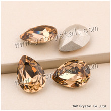 YANRUO #4320 Lt.Col.Topaz Fancy Crystal Rhinestone Bright Strass Pointback Drop For Clothes Accessories(China)