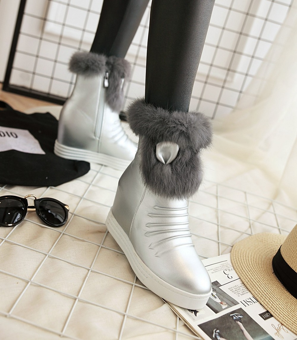 Onlytruelove Fashion Fox Fur Warm Autumn Winter Snow Women Boots Shoes GenuineI Mitation Lady Short Boots Casual Long Snow Shoes<br><br>Aliexpress