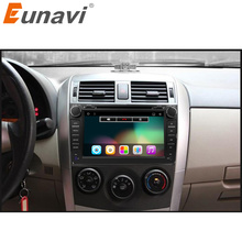 Eunavi 2 din Android 6.0 car dvd player gps for Toyota Corolla 2007 2008 2009 2010 2011 8 inch 1024*600 screen car stereo radio