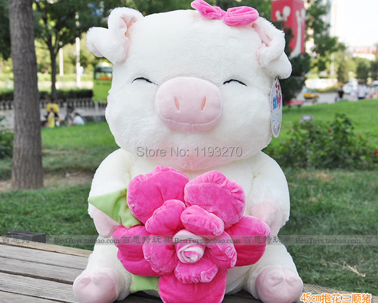 stuffed animal 27cm beauty pig hugged rose plush toy doll great gift free shipping w230(China (Mainland))