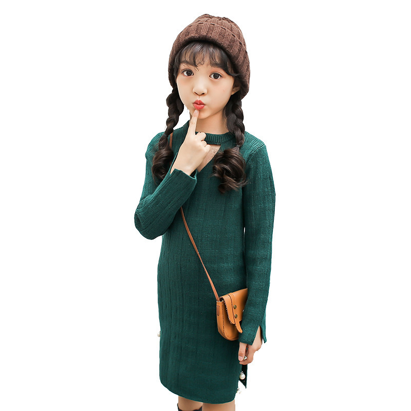 Childrens Garment 2017 Autumn And Winter New Pattern Long Hollow Out Knitting Wool Dress Long Sleeve Kids Clothing<br>