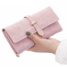 Women Wallet Female Coin Purse Fashion Long Clutch Hasp Closure Lady Purse Drawstring Nubuck PU Leather Purse Credit Card Holder(China)