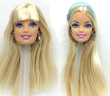 NK ON SALE 2 Pcs Mix Doll Original head with With One Pair Of Earrings for each hot sale for Barbie Doll Best DIY Gift for Girls