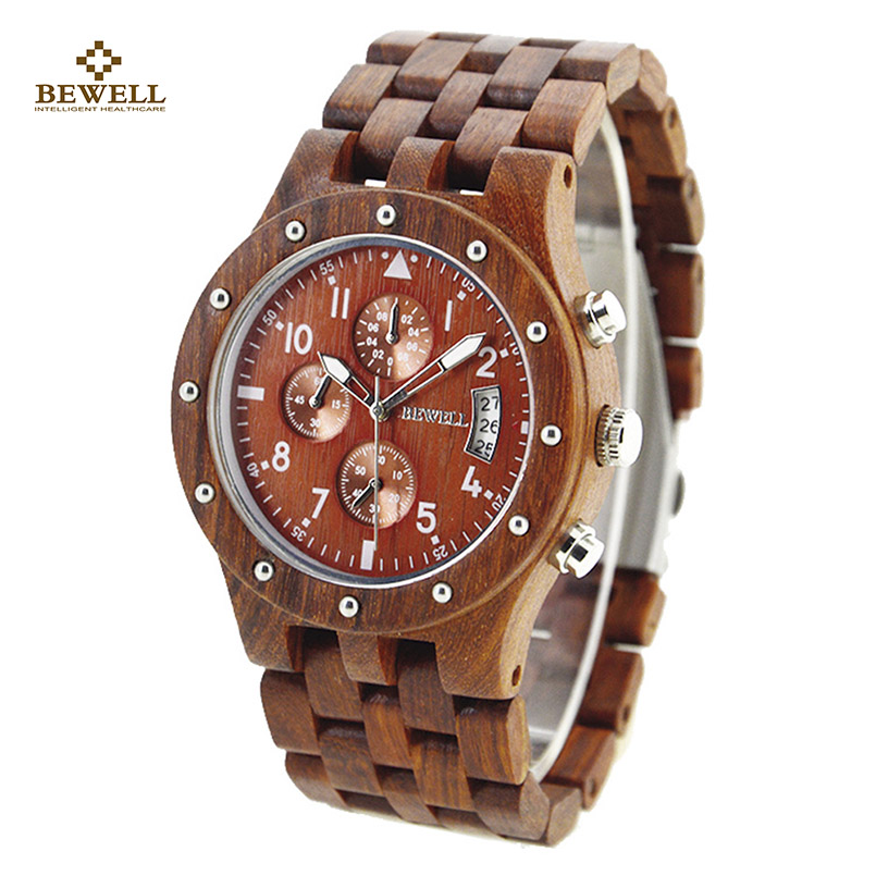 BEWELL Luxury Quartz Watches with Three Small Dials Work Brand Wooden Watch Analog Date Display Wristwatch Function for Men 109D<br>