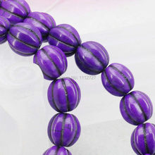 12mm Purple Pumpkin DIY Loose Beads Turkey Howlite Chalcedony Semi Finished Stones Women Girls Gifts Accessories Jewelry Making(China)