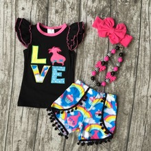 baby Girls Summer clothes girls children LOVE troll hair outfits kids flutter sleeve and rainbow shorts outfits with accessories(China)