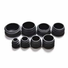 Black 10 PCS 8 Sizes Plastic Furniture Leg Plug Blanking End Caps Insert Plugs Bung For Round Pipe Tube