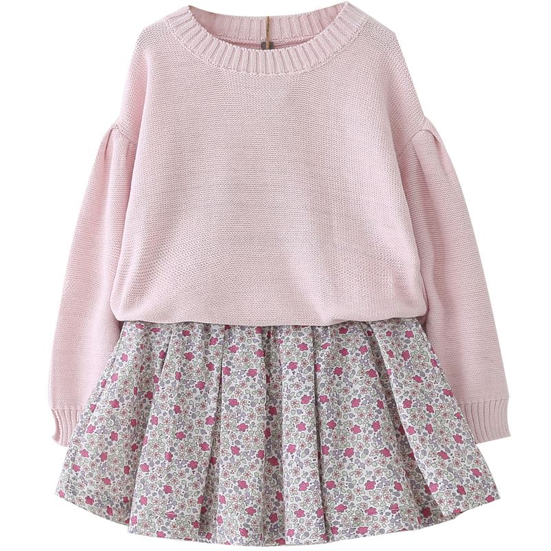 2018 spring new girl suit baby long-sleeved sweater + floral two-piece skirt<br>