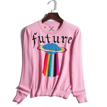 The 17 an women's fashion station early autumn new rainbow pattern thin neck UFO knitted sweater(China)
