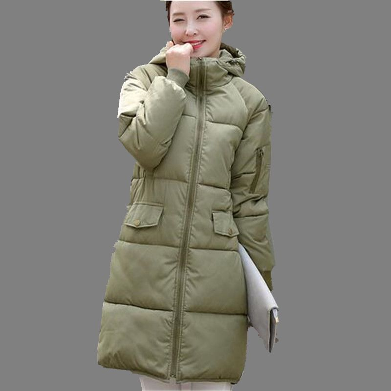 Korea 2017 Winter Fashion Women Coat Leisure Loose Big yards Pure color Hooded Thicken Warm Medium long Cotton Down Jacket G0238Одежда и ак�е��уары<br><br><br>Aliexpress
