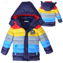 Baby Winter Children outerwear Kids clothes hooded down coat girls boys coat striped baby clothing jackets for boys girls(China)