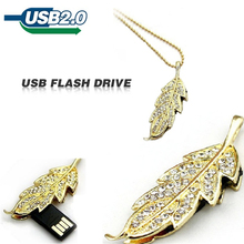 diamond metal leaf shape usb flash drive 64GB pen drive 32GB 16GB 8GB 4GB u disk 128GB pendrive u disk memory card new(China)