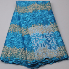 Latest Blue African Laces Fabrics Embroidered African Guipure French Lace Fabric Cheap African French Net Lace Fabric APW472B-7