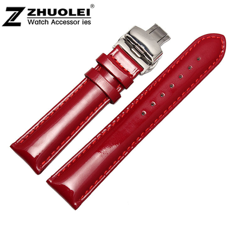New Design 12mm 14mm 16mm 18mm 20mm red fashion polished Genuine Leather deployment Bracelet Strap Watch Band free shipping<br><br>Aliexpress