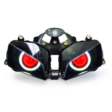 KT Headlight for Honda CBR600RR 2003-2006 LED Angel Eye Red Demon Eye Motorcycle HID Projector Assembly 2004 2005