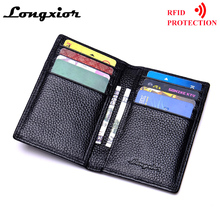 MRF17 Slim Leather ID/Credit Card Holder Bifold Front Pocket Wallet with RFID Blocking Business card holder 100% genuine leather(China)