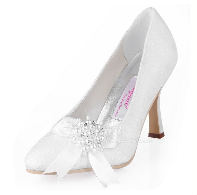 2016 Best Spring Lace Handmade Woman Single High Heel Shoes Elegant Promotion Wedding Dress Shoes  Ladys White Fashion Pumps<br><br>Aliexpress