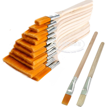12pcs / Set High quality nylon Mao Banshua oil painting brush BBQ brush for painting art Easy To Clean wooden cleaning brush