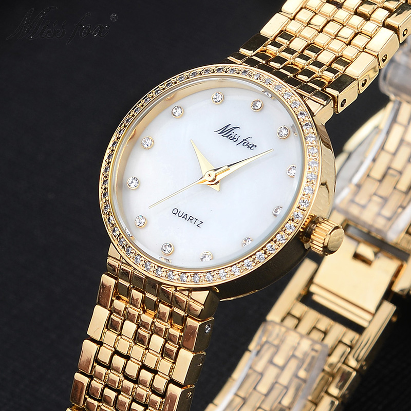 Miss Fox Brand Quartz Wrist Watches Fashion Watches Women Casual Dress Luxury Gold Ladies Rhinestone Waterproof reloje mujer<br>