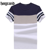 HEE GRAND 2017 Fashion Male Short Sleeve T Shirt Hand Drawn Pop Design T-shirt Men Patchwork Tops Tees MTS2019
