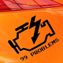Check Engine Light Sticker 99 Problems Car Sticker for Motorhome Minicab Motorcycles Car Decor Waterproof Vinyl Decal 10 Colors