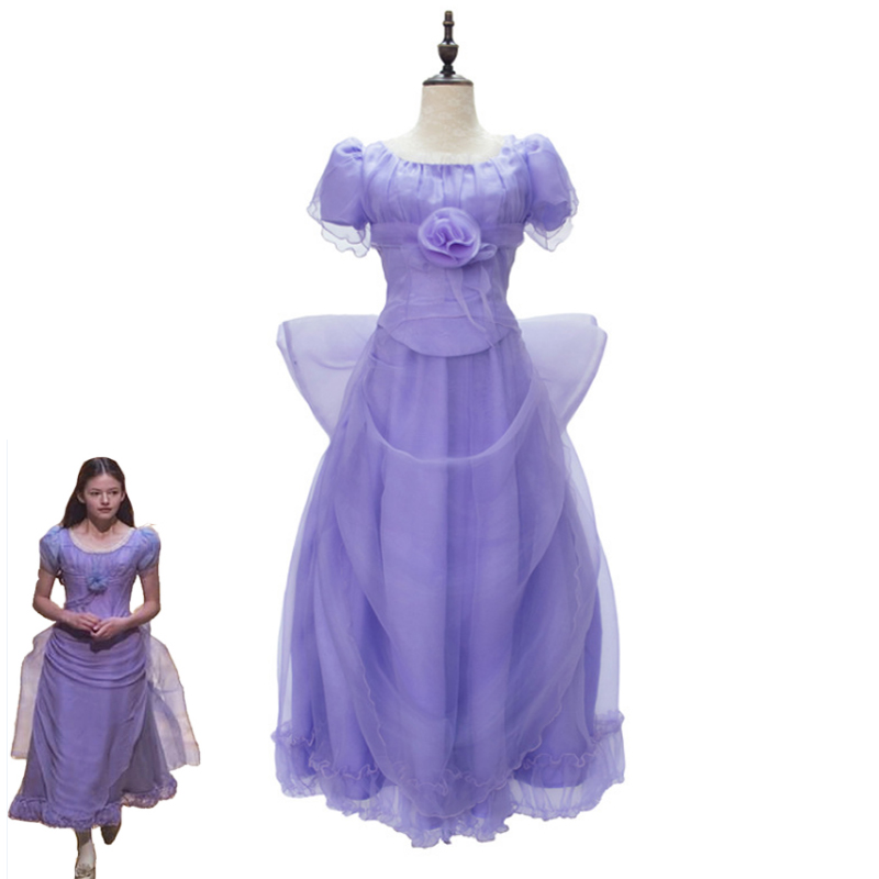 2018 The Nutcracker and the Four Realms Clara Cosplay Costume Girls Cute Cosplay Purple Dress Women Halloween Carnival Costumes