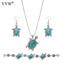 Fashion Turquoise Jewelry Sets For Women Green Turquoise Sets Turtle Shape Necklace Bracelet & Earrings Women's Jewelry Gift