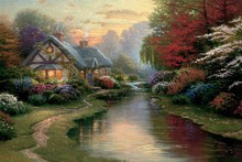 A Quiet Evening by Thomas Kinkade oil painting poster fabric canvas wall poster print