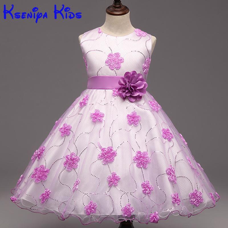 New Flower Girls Wedding Formal Bridesmaid Party Dress Baby Girl Dress Kids Dresses For Girls Dresses For Girls 10 High Quality<br>