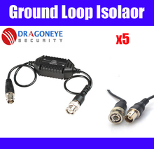 5pcs Ground Loop Isolator CCTV Balun Coaxial BNC Male to Female for Audio Video transmission signal amplifier cctv accessories