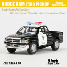 1:36 Scale Alloy Diecast US Police Car Model For DODGE RAM 1500 PICKUP Collection Pull Back Metal Car Toys - Black