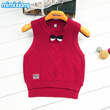 White Sleeveless Baby Boys Sweater Vest Spring Grey Cotton Knitting Kids Knitwear Pullovers Autumn Outwear Top Children Clothing(China)