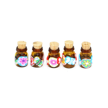 Wholesale polymer clay glass bottle with cork,2ml mini essential oil bottle necklace pendant bottle glass manufacturers