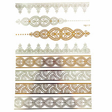 Free shipping DIY Flash Tattoos Gold Silver Metallic Temporary Tattoos Golden necklaces Tattoo hair tattoos make up for girl boy(China)