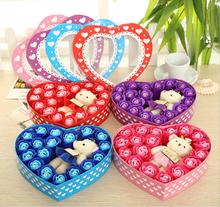 Heart 18pcs Red/Pink/Blue/Purple Body Bath Washing Soap Rose Flowers + Cute Bear with Box For Wedding Party Birthday Gift Favors