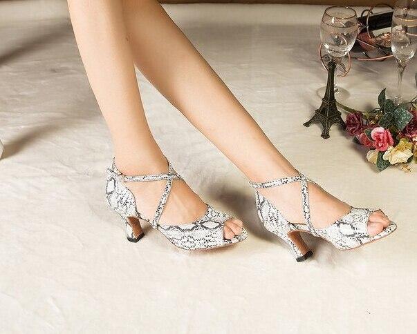 Wholesale Ladies White Snakeskin Print  Ballroom Dancing Shoes Latin SALSA Shoes for women Tango Shoes<br><br>Aliexpress
